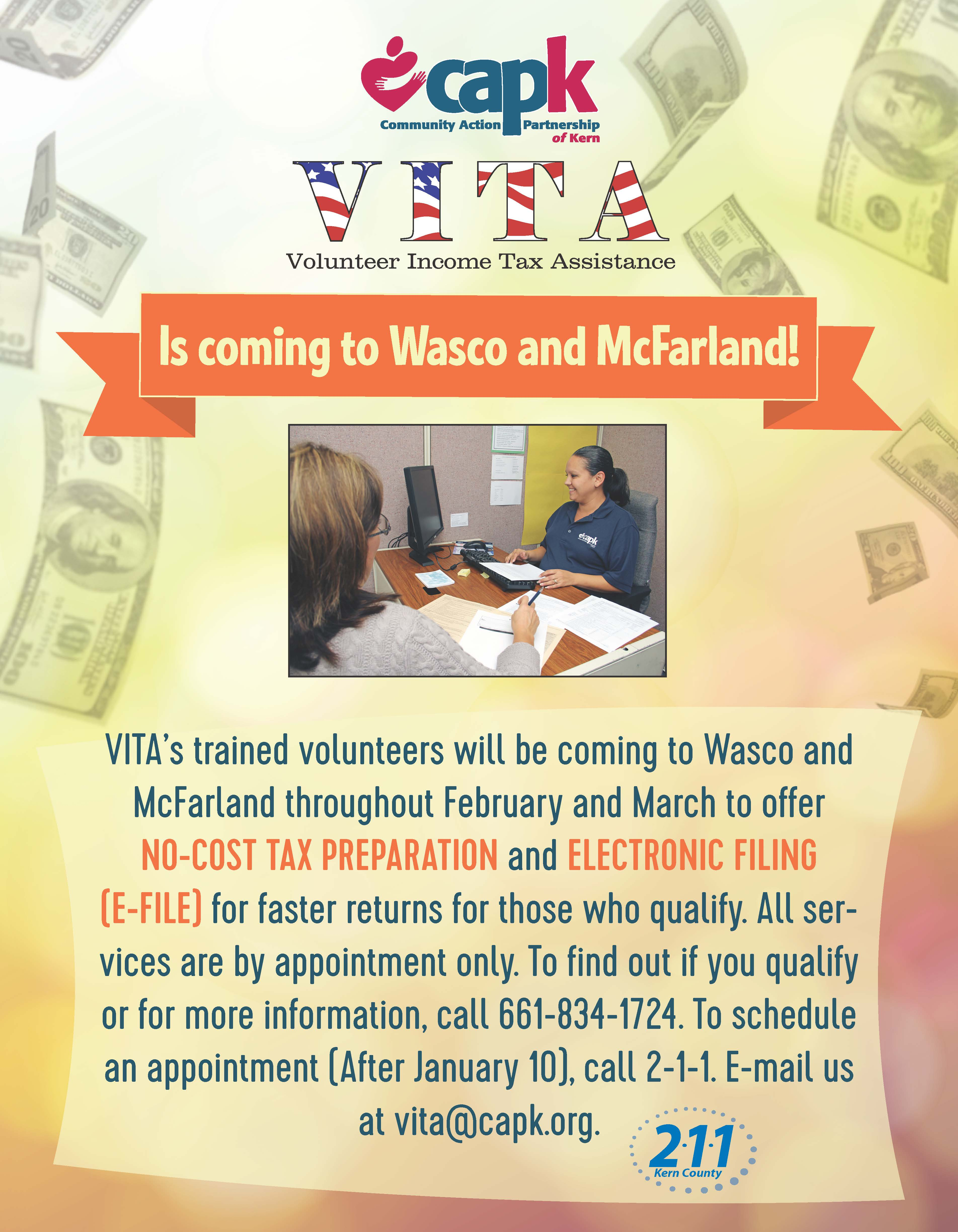 Volunteer Income Tax Assistance Vita Is Coming To Wasco