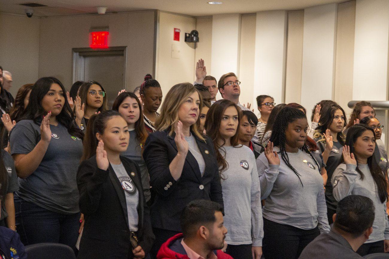 AmeriCorps volunteering being sworn-in.
